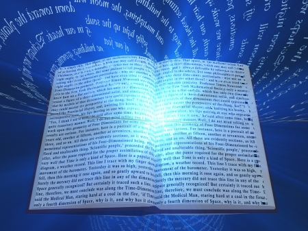 source of light: Book with floating text and light