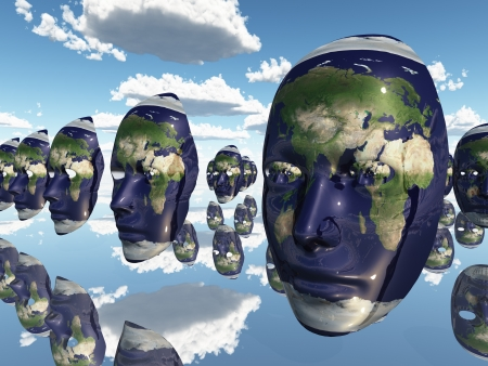 Multiple Earth faces recede into distance photo