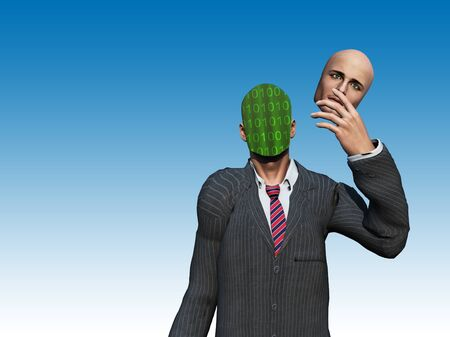 reveal: Man removes face to reveal binary streams Stock Photo