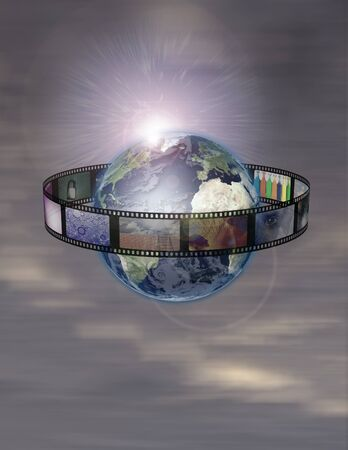 film industry: Film Encircled Earth Stock Photo