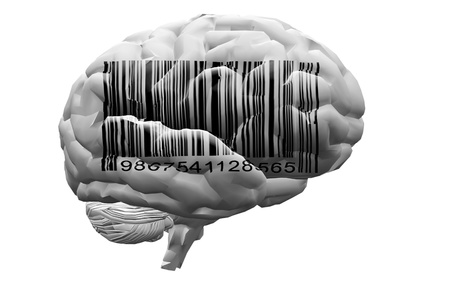 brainwash: Barcode on brain Stock Photo