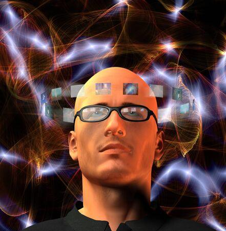 Images encircel mans head