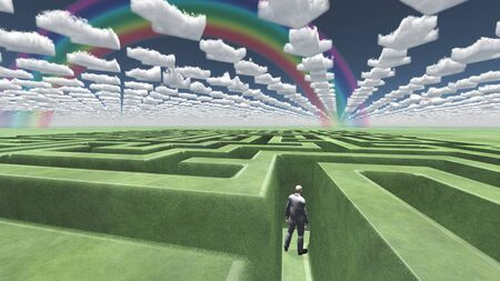 above the clouds: Figure inside of maze with arrow clouds above Stock Photo