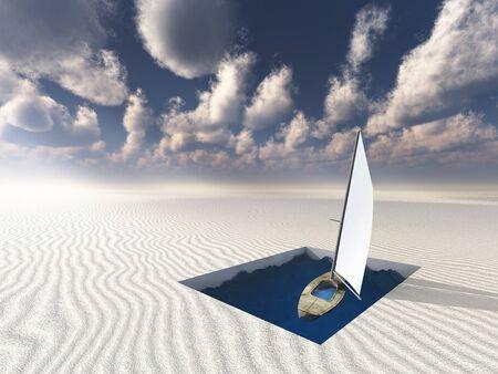 Niet aan zee grenzende Boot drijven in nutteloze zwembad Stockfoto