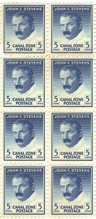 PANAMA CANAL ZONE CIRCA 1946  unused stamps printed in Panama Canal Zone showing a portrait of engineer John F  Stevens, circa 1946