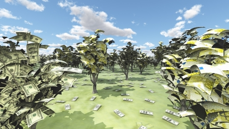 us currency: US Currency and Euro Trees