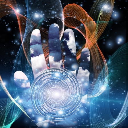 spiritual energy: Hand with swirling form