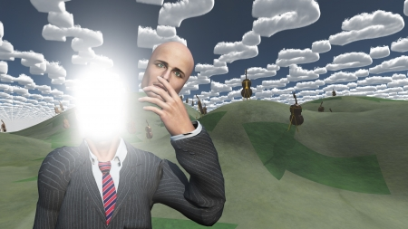 Man removes face showing lightn in landscape with question shaped clouds Stock Photo - 16358210