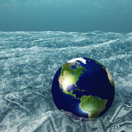 ahogarse: Tierra flota en el mar Moneda Foto de archivo
