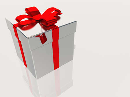 x mas: Silver gift box with ribbon and bow