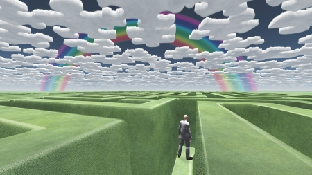 Man in maze with puzzle clouds