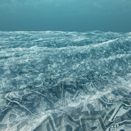 3d boat: An ocean of currency Stock Photo