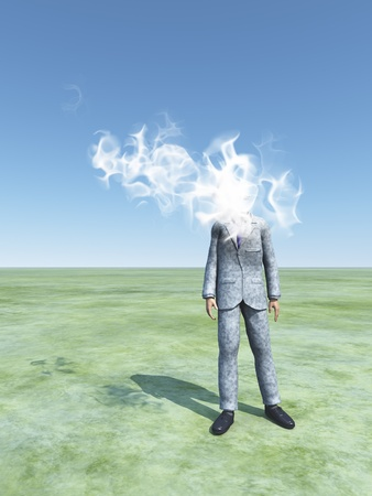 Man with cloud for head Stock Photo - 16455800