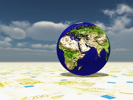south east asia: Earth focus Europe, Africa, Mdeast Asia on Euro Surface Stock Photo