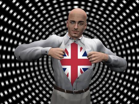 gb: Man reveals UK Flag Under Shirt