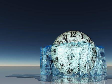 unstuck: Clock witin melting ice