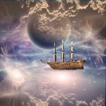 3d boat: Sailing ship with full sails in fantastic scene