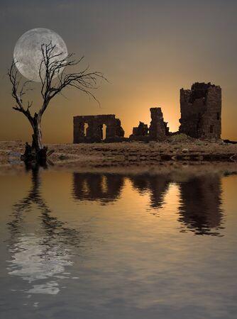 enlightenment: Ruins moon Stock Photo