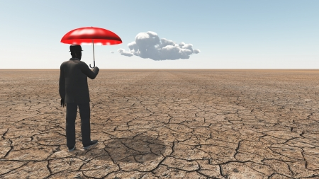 red umbrella: Man in desert with umbrella and single cloud