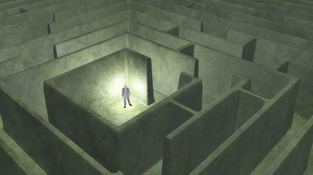 find answers: Man and maze