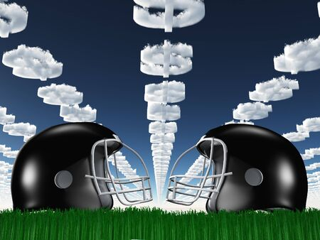 Football Helmet on Grass with DollarSymbol Clouds photo