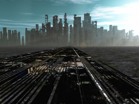 Road to tote Stadt Standard-Bild