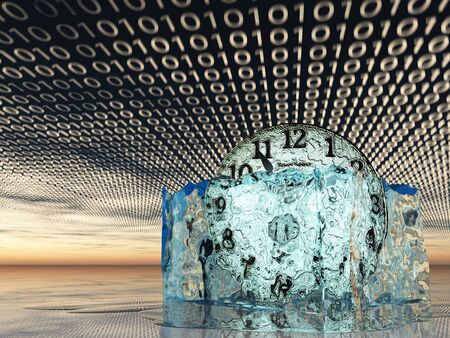 unstuck: Clock in melting ice with binary code Stock Photo