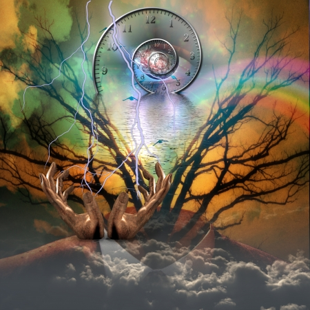 past: Surreal artisitc image with time spiral Stock Photo