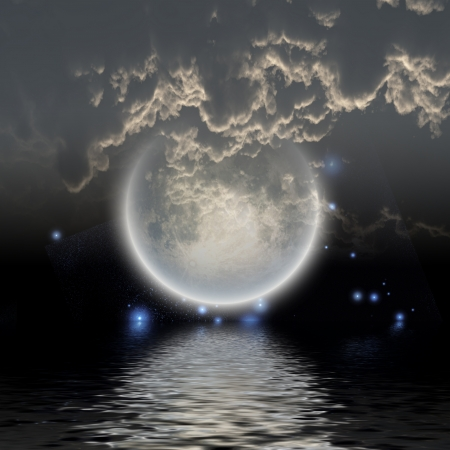 Moon over water photo