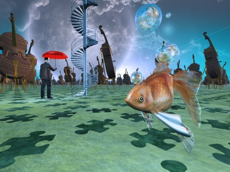 dream vision: Surreal scene with various eelements Stock Photo