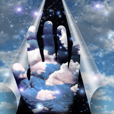 unanswered: Sky peels apart revealing hand of clouds Stock Photo