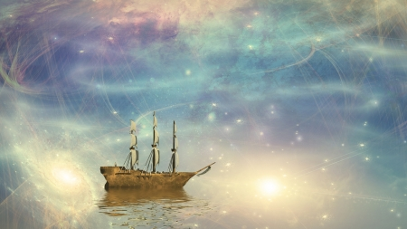 3d sail boat: Sailing ship sails through the stars Stock Photo
