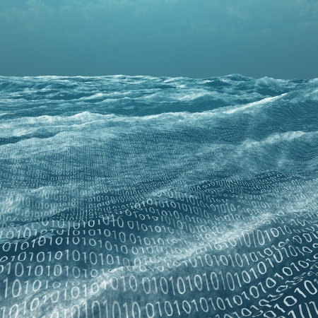 big and small: Vast binary code Sea Stock Photo