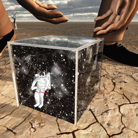 black giant: Human about to pick up box containing astronaut and space Stock Photo