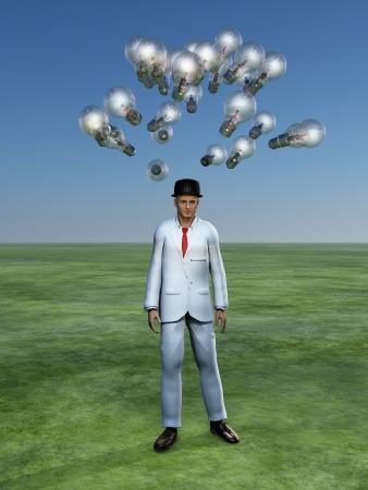 brain storm: Man has brain storm Stock Photo