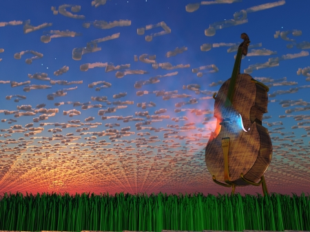 Cello emits light with clouds formed as musical notaions Stock Photo - 16906657