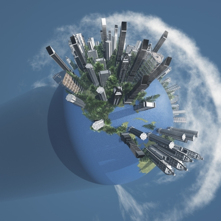 City Earth with Clouds photo
