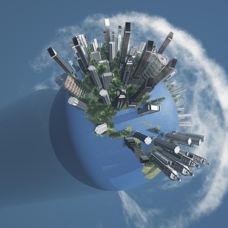 Stadt der Erde mit Wolken