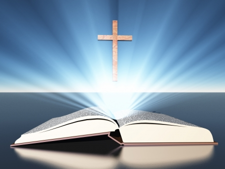 believe: Light radiates from bible under cross
