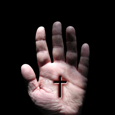 believe: cruzar símbolo a mano Foto de archivo