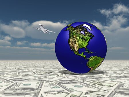 the americas: Earth Focus Americas on Dollasr Surface with Aircraft