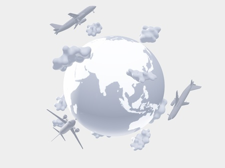 Aircraft above earth photo