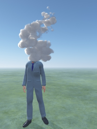 unrecognizable person: Man with cloud for head