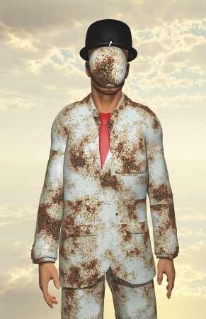 banker: Man in white corroded suit with obscured face
