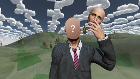 Man removes face showing question in landscape with question shaped clouds photo