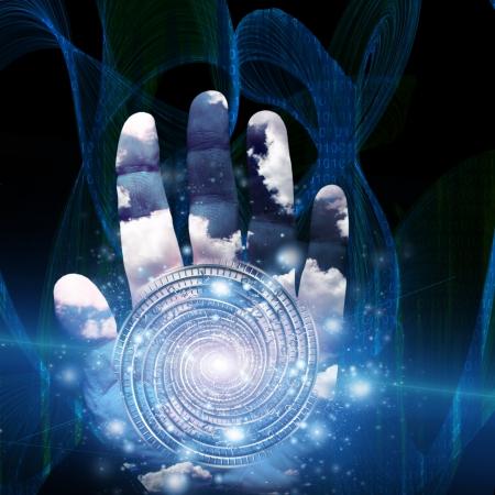 concept magical universe: Mano con la forma remolinos