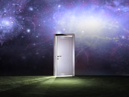 Doorway before cosmic sky photo