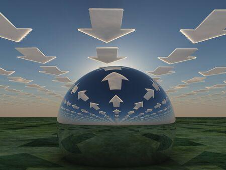 ミラーの球に反映して矢印雲