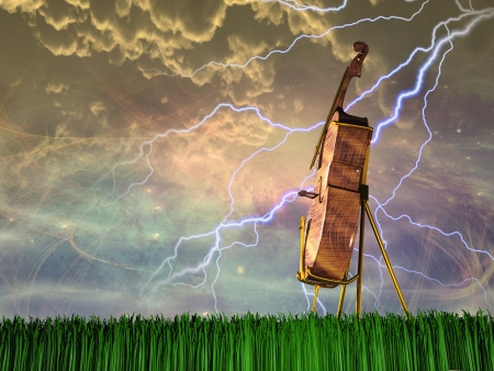 Cello in dream like landscape photo
