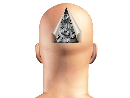 robot head: Mans head opened to reveal cogs inside Stock Photo